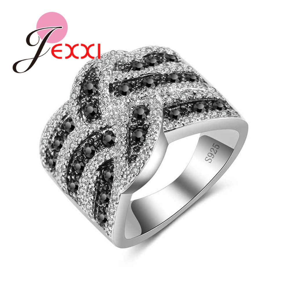 New Arrival White Black Crystal Cross Ring Fashion Wide Loop Jewelry 925 Silver For Women Girls Holiday Gifts