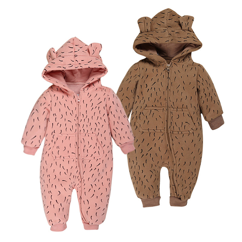 2018 Baby Fleece Romper Autumn Winter Long Sleeve Hooded Rompers Baby Overalls Leopard Romper Toddler Clothing