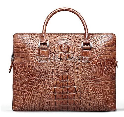 Genuine Crocodile Leather Briefcase Alligator Skin Men Laptop