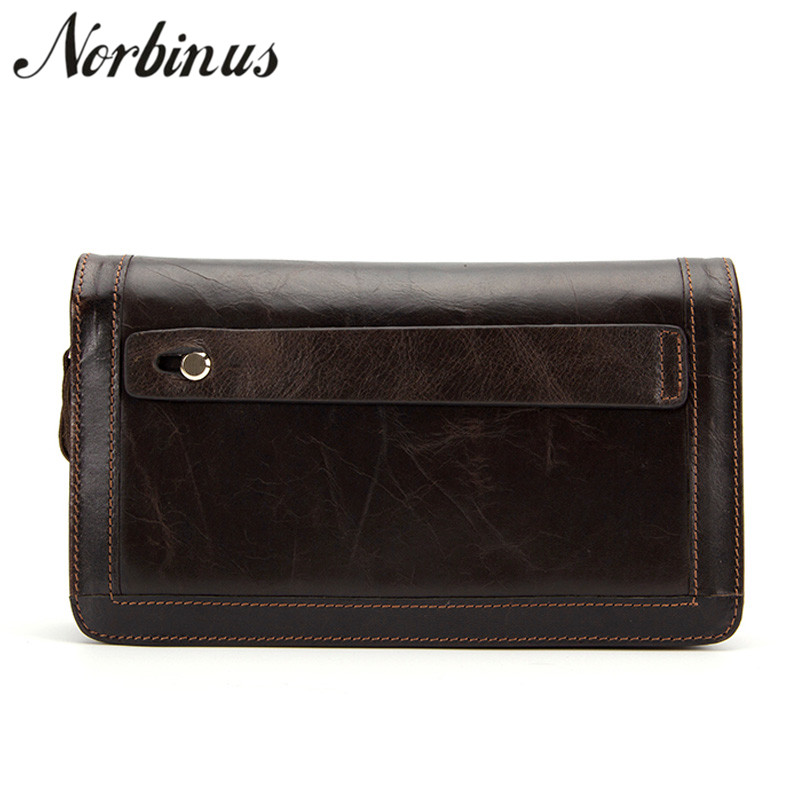 Norbinus Men Wallets Genuine Leather Clutch Double Zipper Long Wallets Wrist Strap Bags Solid Coin Purse Male Credit Card Holder contact s long genuine leather men wallets male purse coin id credit card holder phone man clutch bags money small perse black
