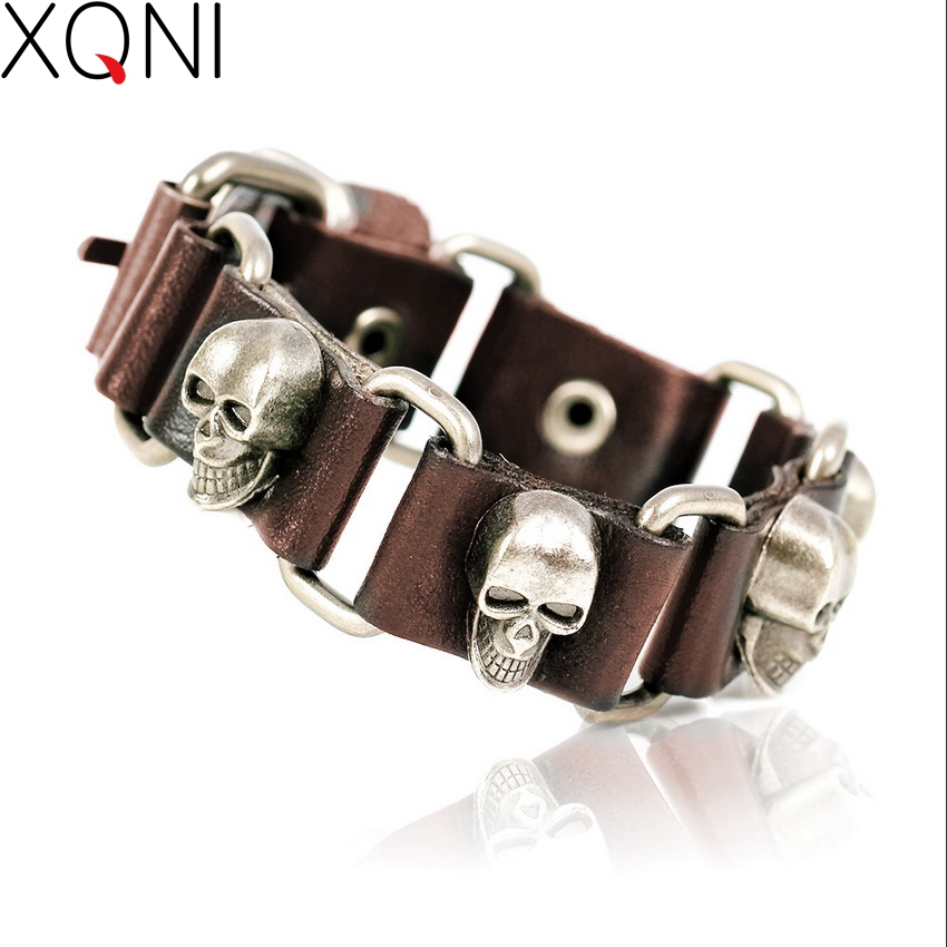 2017 New Fashion Brand Skull Chain Leather Men's Bracelets Popular Knighthood Link Charm Friendship Bracelets Jewelry.