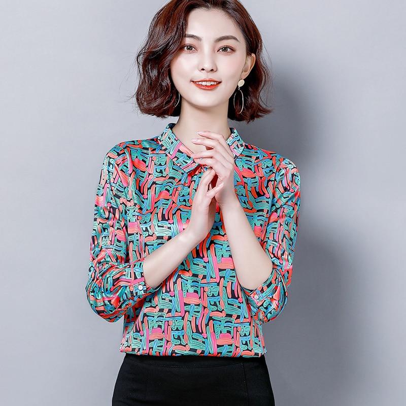 4XL Print Chiffon Shirt Women Tops 2019 Spring New Women Blouses Long Sleeve Square Collar Bodycon