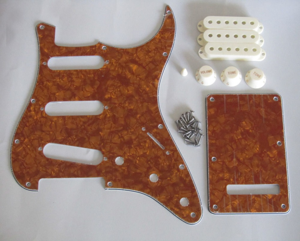 Gold Pearl ST SSS Pickguard with Parchment Pickup Covers Knobs Tip  st pickguard back plate clear w chrome pickup covers knobs and tip