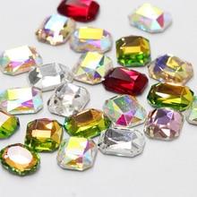 Модные аксессуары для ногтей, камни, стразы, украшения для ногтей, прямоугольная плоская задняя сторона, Кристальные блестящие 3D Стразы, маникюр, дизайн ногтей