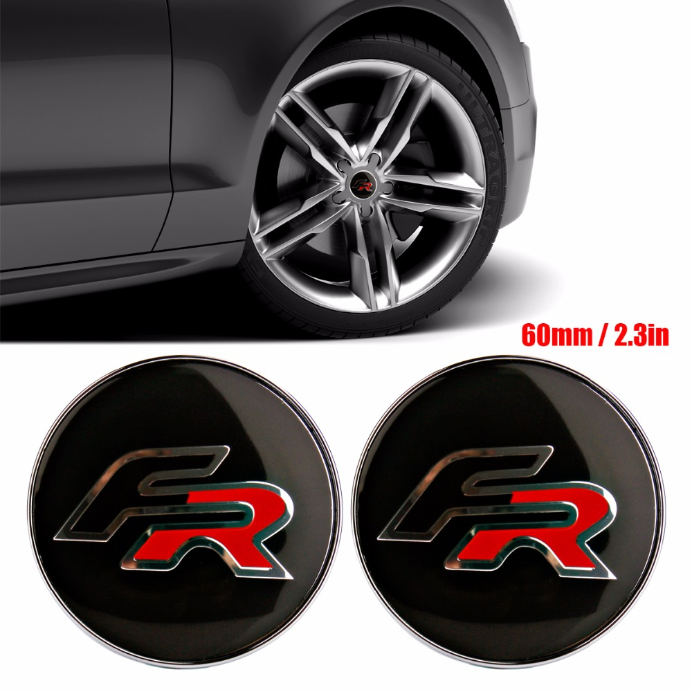 4pcs FR Formula Racing Car logo 56mm Wheel center Hub Cap Car Emblem sticker for BMW SEAT Ibiza Leon Altea ABARTH Car Styling