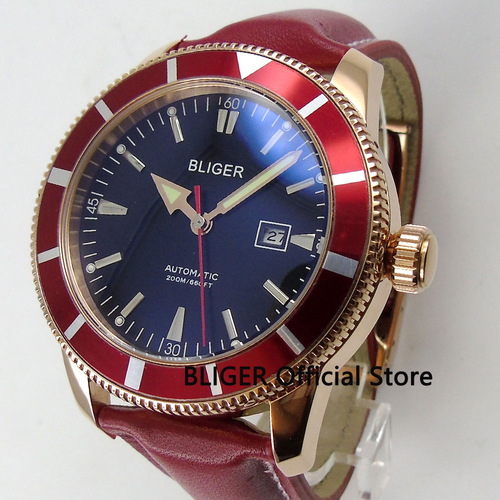 Solid 46MM BLIGER Mens Watch Black Dial Rose Golden Case Red Bezel MIYOTA Automatic Movement Mens Wrist Watch Leather StrapSolid 46MM BLIGER Mens Watch Black Dial Rose Golden Case Red Bezel MIYOTA Automatic Movement Mens Wrist Watch Leather Strap