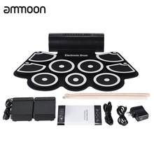 Portable Electronic Roll Up Drum Pad Set 9 Silicon Pads Built-in Speakers with Drumsticks Foot Pedals USB 3.5mm Audio Cable(China)