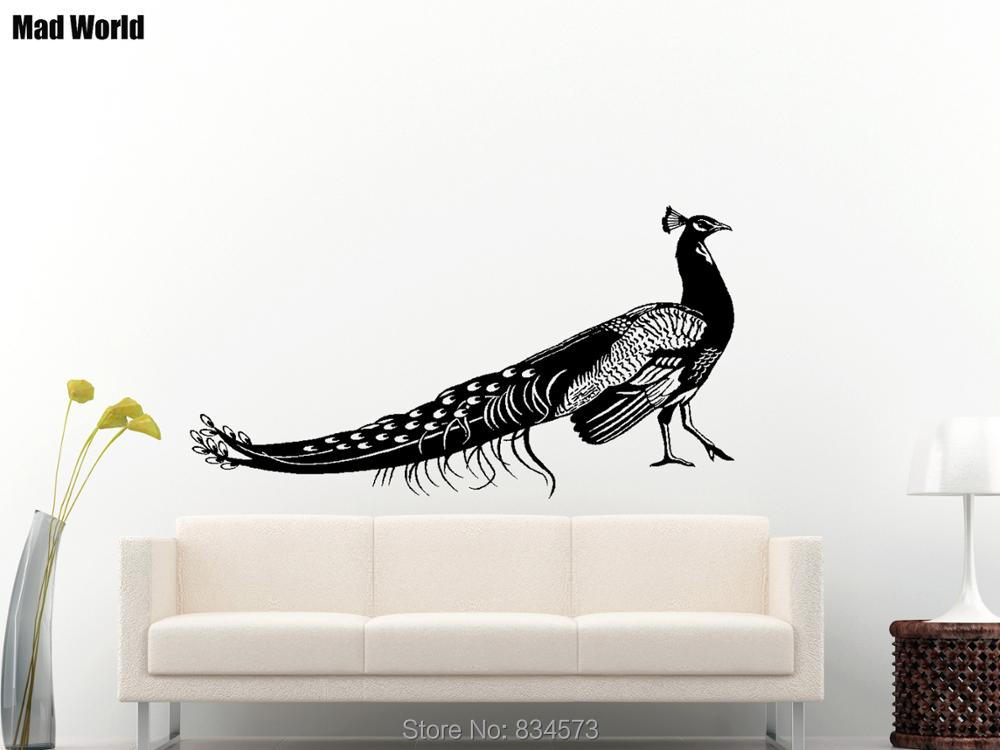 Mad World Beautiful Animal Bird Peacock Wall Art Stickers Wall Decal Home  DIY Decoration Removable Room Decor Wall Stickers In Wall Stickers From  Home ...