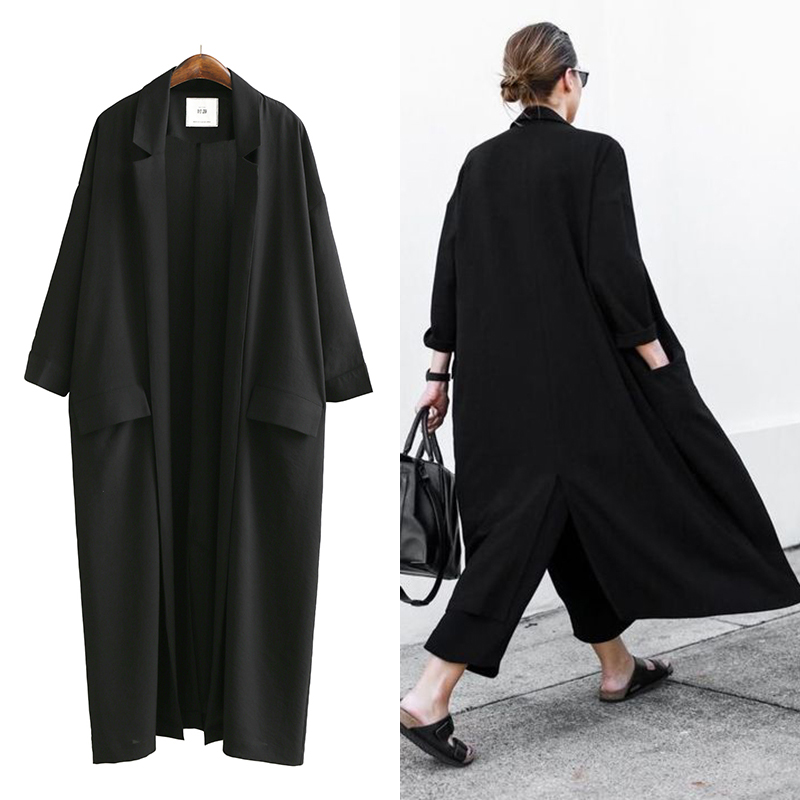 TREND-Setter 2017 Summer and Autumn Long   Trench   Coat Women Black Thin Oversize Loose Chiffon Windwear