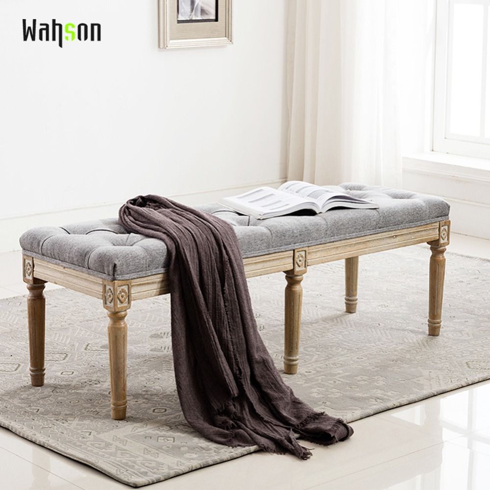 все цены на Wahson Fabric Upholstered Entryway Ottoman Bench, Classic Bench with Carved Pattern for Bedroom/Living Room, TN-7537 онлайн