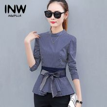 2018 Newest Women s Peplum Tops Blue Striped Blouses Casual Bow Long Sleeve  Rayas Shirts For Female Fashion Autumn Blusas 88bb47621a75