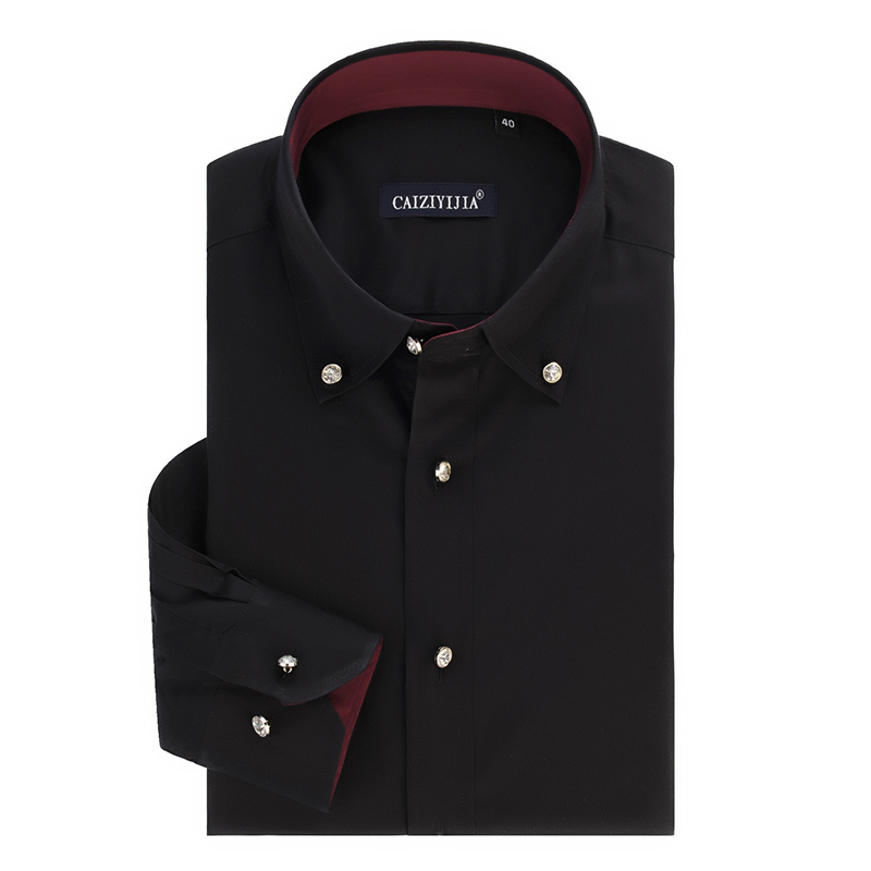 Online Shop Fashion Black Men Long Sleeve Dress Shirt Casual Slim
