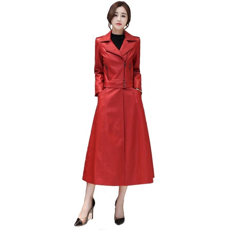 2018 new design Lowe Edge Detachable   Leather   jacket Women Autumn&Winter Slim Windbreaker Women Solid Fashion Long Coats