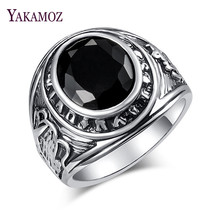 YAKAMOZ Charm Male Punk Ring Punk & Rock Style Black Rhinestone Finger Rings for Womwn Men Jewelry Gifts New Fashion(China)