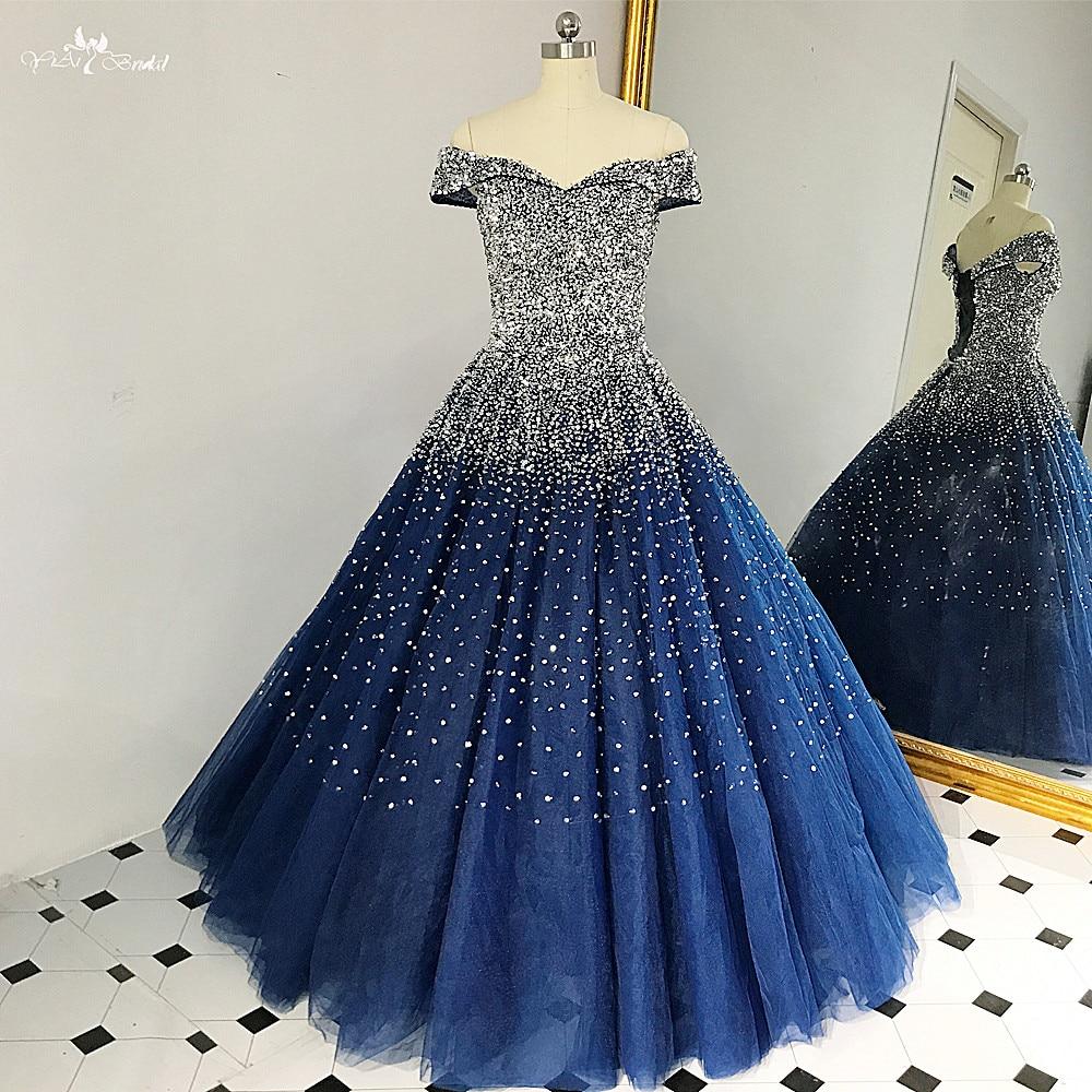 53e4a8a85900 ... RSE848 Stunning Navy Blue Ball Gown Bling Bling Silver Beads Shining  Long vestidos festa Formal Gowns ...