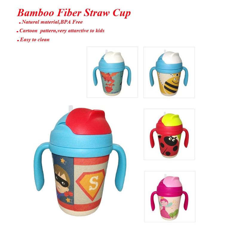 ᑎ‰Bebé, la fibra de bambú paja Copa BPA libre botella de agua ...