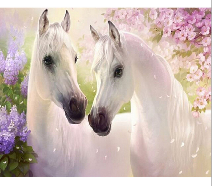 DIY Diamond Painting Embroidery White Lover Horse Mosaic Painting Square Drill Full Rhinestones Drawing Craft Fashion Decoration