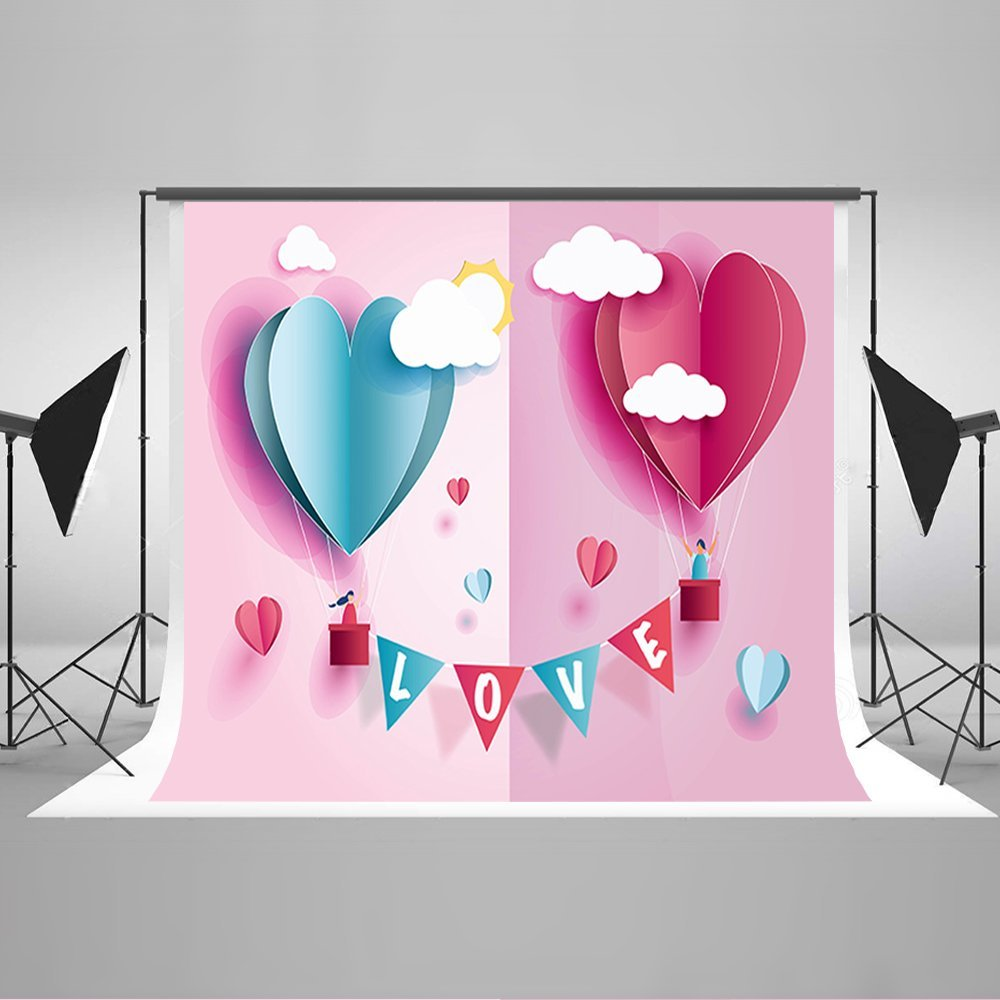 Valentines day love clouds pink heart cartoon Hot Air Balloon Backgrounds Vinyl cloth Computer print wall backdrop