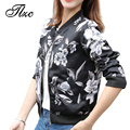 TLZC Vintage Woman Black Jacket 2017 Women Spring Jackets Short Tops Size S-2XL Long Sleeve Lady Floral Print Coat