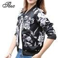 Tlzc vintage mulher jaqueta preta 2017 mulheres primavera jaquetas curtas tops tamanho s-2xl manga longa senhora casaco estampado floral