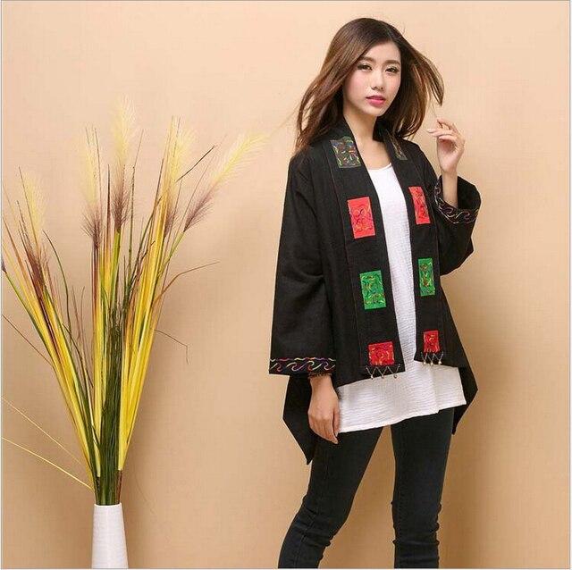 Осень платок шарф новый оригинальный дизайн чистого белья вышивка пальто свободный плюс размер палантин cappa литературный мыса плащ плащ