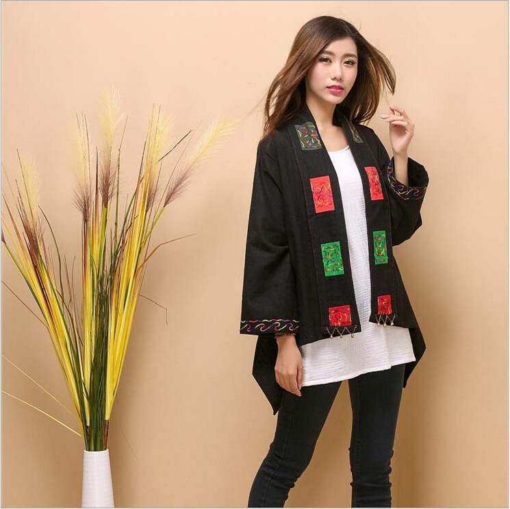 autumn shawl scarf new original design pure linen embroidery coat loose plus size tippet cappa literary