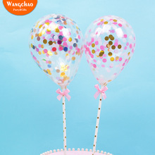 New 5inch Latex Paillette Balloon Cake Topper Happy Birthday Party Decoration Kids Baby Shower Boys Girls Decorating
