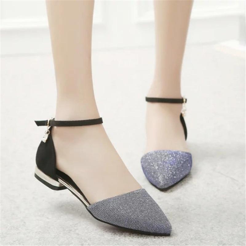 Pointe Le 2018 De bleu Chaussures Des Nouveau Un Coréenne Mot Avec gris Plates Orteil Boucle Noir Plat or Été Diamant wqYPqRxF
