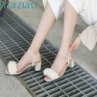 Sandals Suede Buckle Thick Heel Rubber Shoes Open Toes Fur Sexy Party Sandals Women 2019 Summer MAZIAO