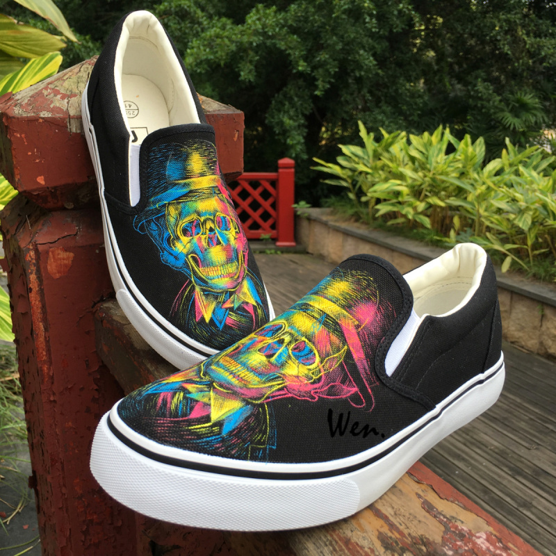 Wen Design Shoes Hand Painted Skull with Derby Hat Three-primary Colors Light and Shadow Slip On Unisex Black Canvas Sneakers