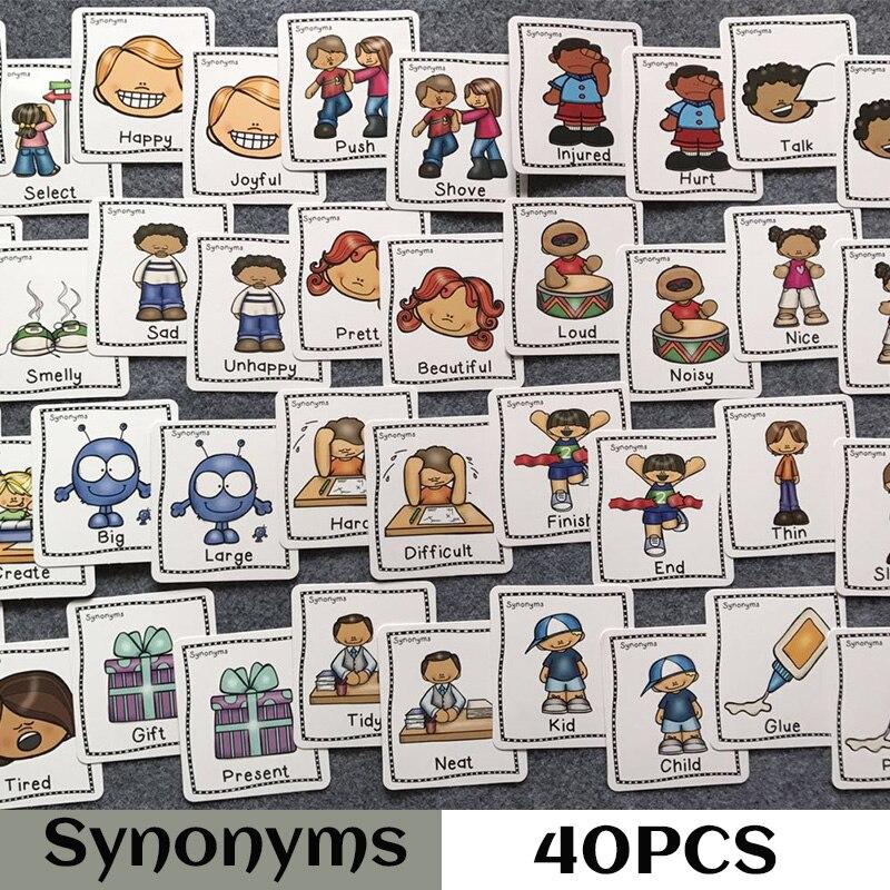 40 pçs/set Sinónimos Antónimos Palavra Inglês Aprendizagem Flashcards Cartão Jogos de Quebra-cabeças para Crianças dos miúdos Do Bebê Juguetes educativos Brinquedos