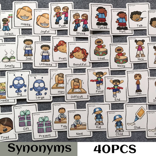 7408cc9761 40Pcs/Set Synonyms Antonyms English Word Learning Card Flashcards Games  Puzzles for Kids Children Baby