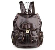 Fashion Genuine Leather Men's Backpacks Cowhide Leather Backpack Women Unisex Vintage Preppy Style Men Travel Bags #VP-J7287