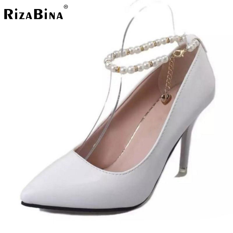 Lady High Heels Shoes Women Pearl Beading Point Toe Ankle Strap Thin Heels Pumps Party Wedding Shoes Dress Footwears Size 34-39