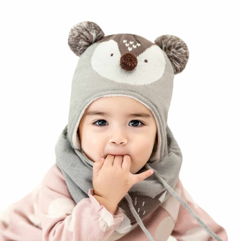 e38cce4f5de31 ... 2018 New Winter Children Warm Thick Hat Scarf Glove 3pcs Set Fox  Knitted Baby Kids Beanies ...