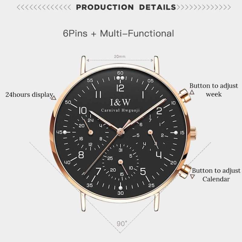 Relogio masculino карнавальные модные часы для мужчин ультратонкие кварцевые часы с импортированными Швейцарский механизм, календарь, кожаный ремешок, светящиеся