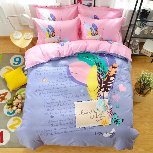 Mife Fantastic Words Bedding Perfect Love Letter Printing Pink Duvet Cover Set Bed Sheet Pillowcases 4pcs