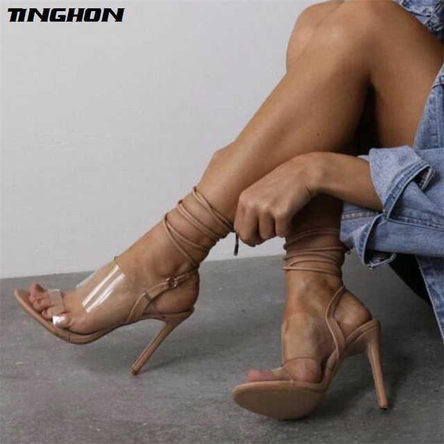 TINGHON Summer High Heel PVC Transparent Peep Toe Lace Up Sandals Sexy  Dress Heels for Women Ladies Stiletto Heel Shoes 61313d679d7a