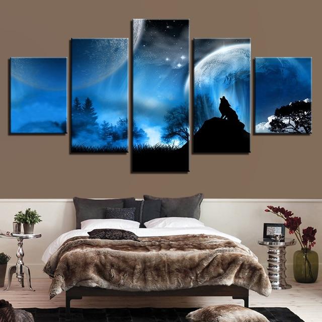 Photo Art Prints Poster Wall Modular Fashion 5 Panel Animal Wolf