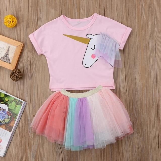 459d823c483ac Cute Baby Girls Clothing Set Unicorn Top Long Sleeve Cotton T-shirt Lace Tutu  Skirt Outfits Set Clothes Summer