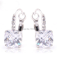 Pure Noble White Topaz Dangle Hook Silver Earring Fashion Stone Jewelry  Free Shipping Wholesale