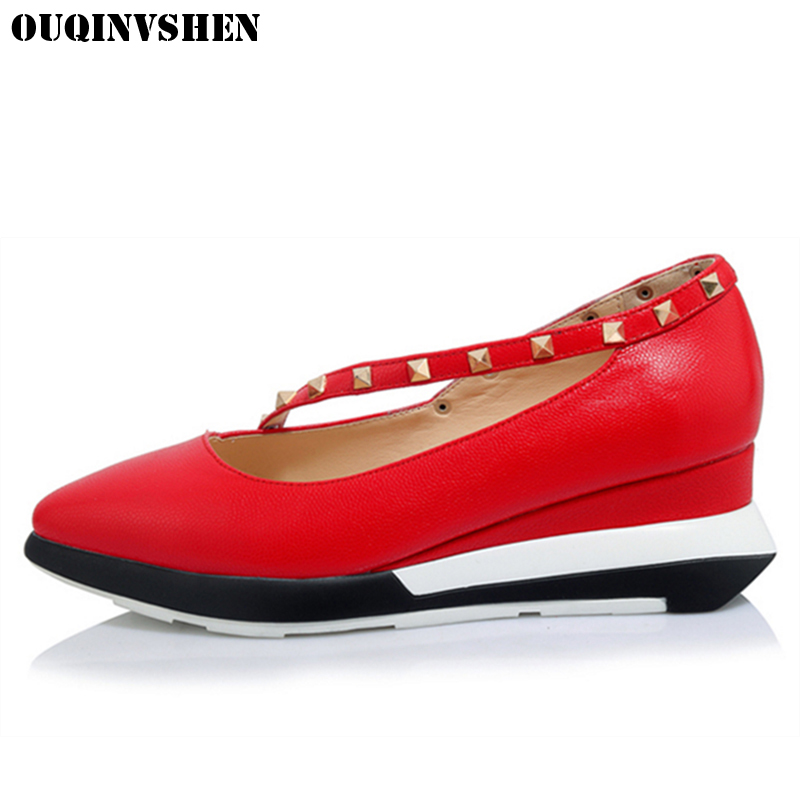 OUQINVSHEN Wedges Rivet Flats Casual Fashion Women Brand Flat Shoes Shallow Pointed Toe Casual Shoes New Ladies Platform Shoes flock women flats 2017 pointed toe ladies single shoes fashion shallow casual shoes plus size 40 43 small yards 33 sapatos