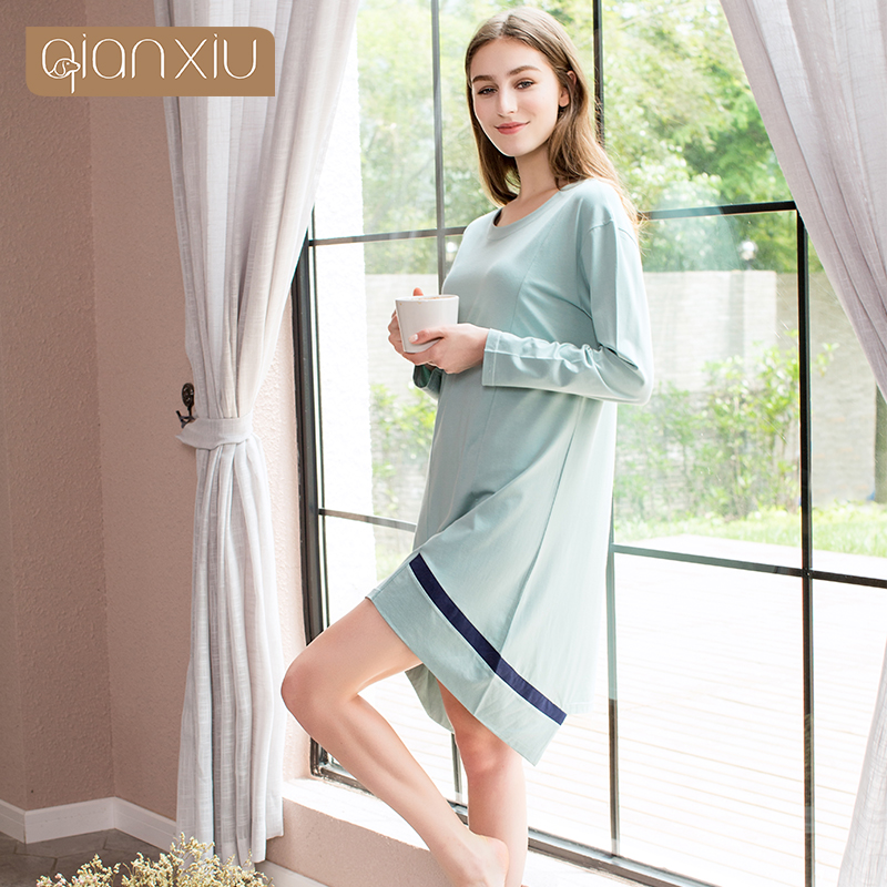 Qianxiu Brand Knee Length Nightgown Spring Autumn O neck Night dress Two  Color 95% Cotton Sleepwear M XXL 1796-in Nightgowns   Sleepshirts from  Underwear ... 65e0f7298