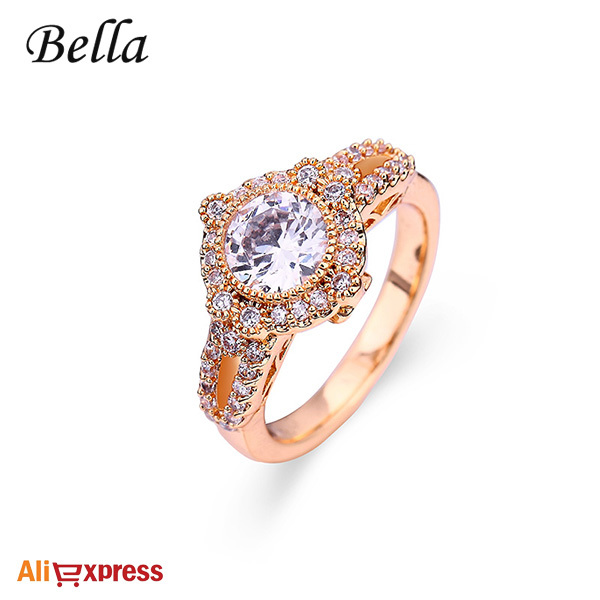 BELLA Luxury 18K Gold Plated 2 carat Swiss Cubic Zirconia Diamond Engagement Rings - Bella Fashion Jewelry store