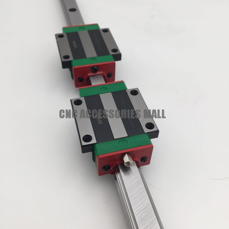 HIWIN 15mm Pitch Linear Guide Rail HGR15 L-350mm & 2pcs carriage HGW15CC Flange Rail Block