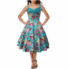 Punk Style Sky Blue Printed Flower Summer Young Lady Swing Dress Rockabilly Retro Pin Up Dress L36105-2