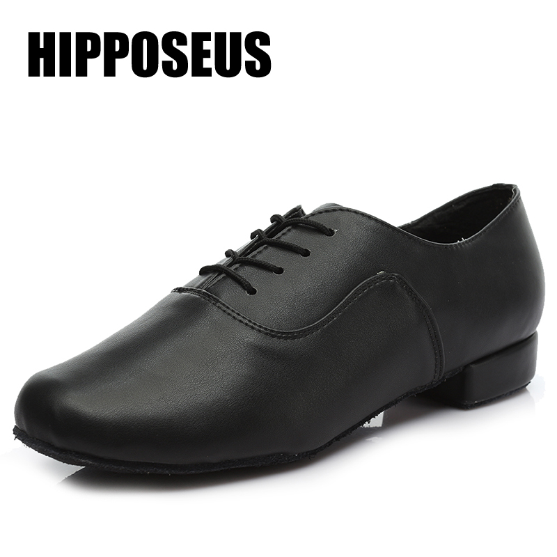 Brand New Men Latin Salsa Tango Dance Shoes Modern Tango Salsa Leather Ballroom Square Heels Adults Children Boys Dancing Party