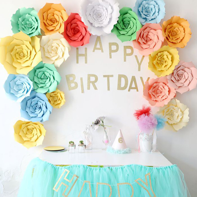 Outdoor Party Flowers Backdrop Wall Hanging Paper Flower Backdrop