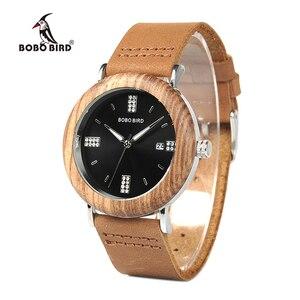 Image 2 - BOBO VOGEL Neueste Damen Holz Uhr Kalender Datum Edelsteine Imitieren Diamant Mode Quarz Uhren für Frauen Holz Box