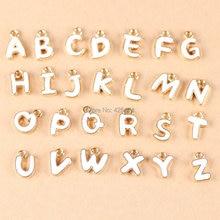 wholesale white color gold tone mixed a z enamel oil drop jewelry bracelet letter charms diy phone chain keyring alphabet charm